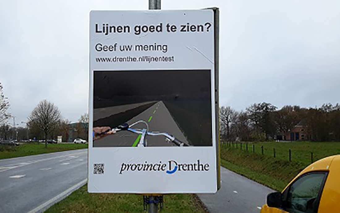 Andere belijning op Drentse fietspaden